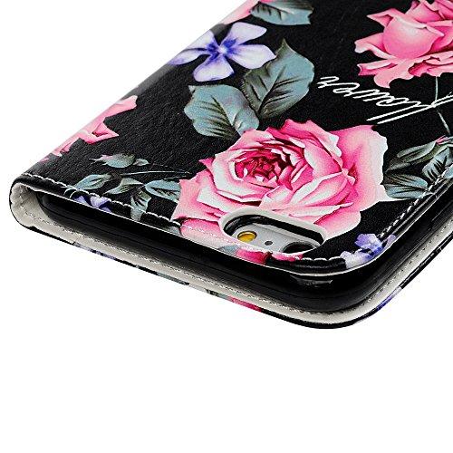 Badalink Hülle für iPhone 6 / iPhone 6S Buntes Kleine Schädelblume Handyhülle Leder PU Case Cover Magnet Flip Case Schutzhülle Kartensteckplätzen und Ständer Handytasche mit Eingabestifte und Staubsch Rosen