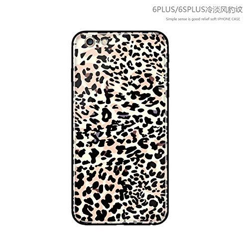 GUYISJK Handy Shell Leopard XS Max Schutzhülle Net Rot Mit Herbst Und Winter Glas Xr Weibliche Modelle 8 8 Plus Silikon Matte 6 6 Splus Tide Handy Schutzhülle, 6P 6Splus Glas Schale Kaltes Licht