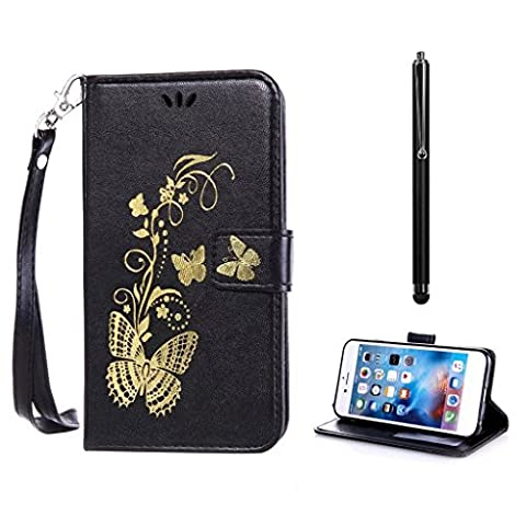 For Huawei P9 Lite Case with Black Bronzing Print Butterfly Golden KSHOP PU Leather Book Style Cellphone Shell with Stand Function Card Holder Magnetic closes Anti-Shock Scratch-resistant Protective Cover + Metal Touch Pen, Black