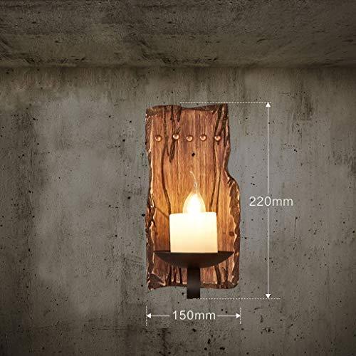 ZHYTX Vintage Massivholz Wandleuchte, Industrie Wind Kerzenhalter Wand Bar Outdoor Kaffee Nachtlampe Wandleuchte Haus Flur Einzigen Kopf E14 Wahl,15 * 22 cm - Bars Outdoor-wandleuchte