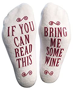 "Luxury Combed Cotton ""Bring Me Some Wine"" Socks - Perfect Hostess or Housewarming Gift Idea, Fun Christmas or Birthday Present for Women, or Funny Novelty Gag For A Wine Lover"