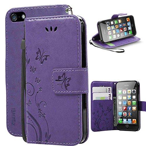 KUAWEI iPhone 5S Hülle iPhone SE Hülle iPhone 5 Hülle Wallet Case Flip Cover mit Kreditkartenhaltern Standfunktion Geldbeutel und Magnetverschluss für Dein iPhone 5 SE 5S (Lila) (Lila Brieftasche Iphone Fall 5)