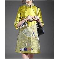 xuanku la mujer 'S/Diario Chinoiserie caída Casual trinc Hera abrigo, soporte de impresión ¾ manga larga Otros, color amarillo, tamaño extra-large