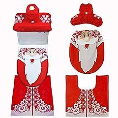 Idea Regalo - Queta Coperchio WC e coperchi Serbatoio, Coperchio Babbo Natale e coperchi Serbatoio Tappeto per Decorazioni Natalizie da Bagno, 3 Pezzi
