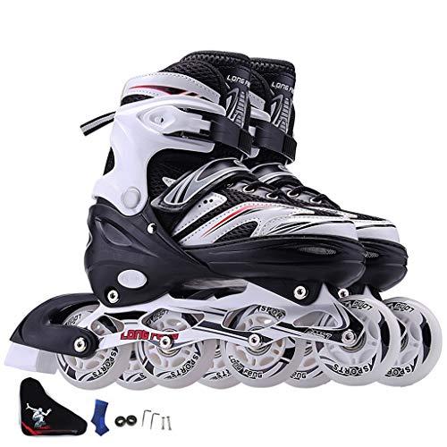 TKW Sport Inlineskates, Männliche Und Weibliche Anfänger Einreihige Skates, Outdoor SkateAdjustable Size, Schwarz Rot Weiß Lila (Color : B, Size : L (EU39-42))