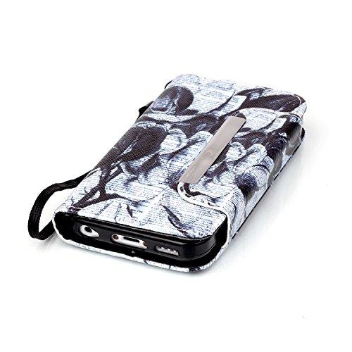 iPhone 5C Custodia Pelle,Ukayfe PU Disegni dipinto Case Cover Protettiva Portafoglio Protettivo Copertura Wallet Libro,Moda Disegno stampa dellunità di elaborazione di vibrazione del cuoio magnetico  giornali fiore