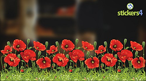 Mohn Grenze (Wild Poppy Statische Fenster Bordüre. Seasonal Fenster Dekorationen, für Weihnachten)