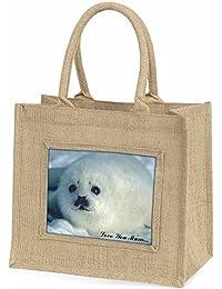 White Sea Lion 'Love You Mum' Large Natural Jute Shopping Bag Christmas Gift Ide