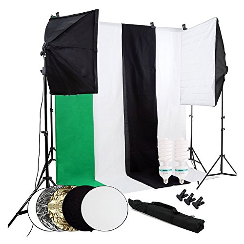 OUBO Studio-Set mit Greenscreen, Softbox, Reflektor, Lampen
