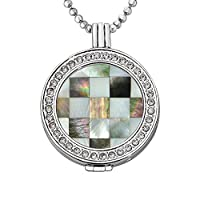Quiges - 33mm Silver Plated Zirconia Coin Locket with Necklace and Coin #21