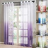 Topfinel Tende Voile Trasparente Occhielli con Gradiente di Colore Decorativi Finestra Balcone casa 140x260cm 2 Pezzi-Viola