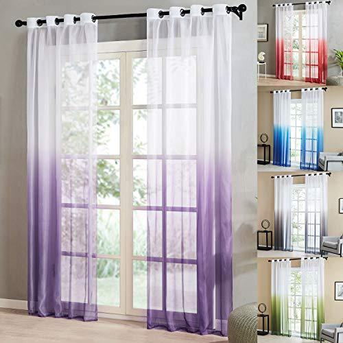 Topfinel Farbverlauf Vorhänge mit Ösen Transparente Gardinen Tüll und Voil Dekoschal für Fenster Schlafzimmer und Wohnzimmer 2er Set je 245x140cm (HxB) Lila