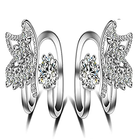 Clip Earrings Platinum Plated Swarovski Elements Crystal Butterfly Clip on Earrings for Women