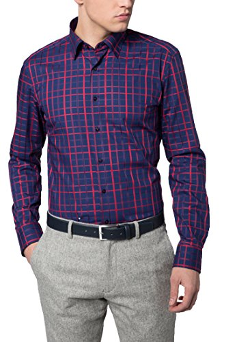 Eterna Long Sleeve Shirt Slim Fit Textured Weave Checked Rosso/Blu
