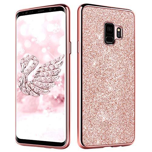 DUEDUE Samsung Galaxy S9 Hülle, Schutzhülle für Galaxy S9 Glitzer Handyhülle Robuste Schutzhülle Stoßfest Anti-Scratch Damen Mädchen Case Cover Hülle für Galaxy S9 Rosagold