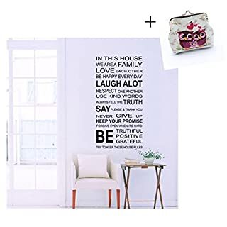 Atdoshop Love Family Rules Removable Decal Art Mural Home Decor Wall Sticker