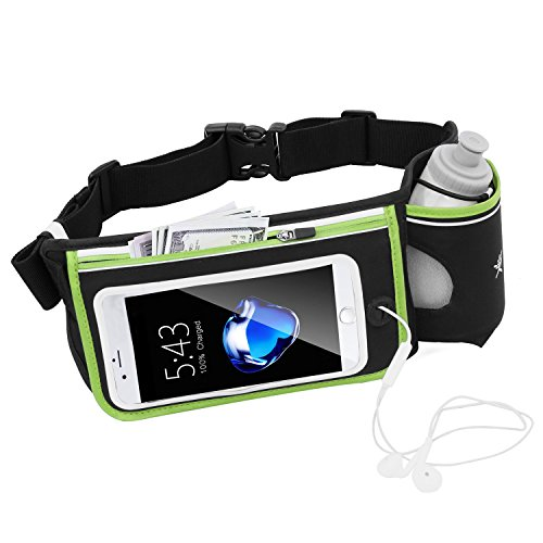 No Bounce Reflective Hydration Running Belt with BPA Free Water Bottles Each 280ml, Hydration Waist Pack, Sports Waist Pouch for Hiking Running Jogging Climbing, Fits iPhone6, 6s Plus, Se, Samsung GalaxyS6/5 Note 4/3/2 (Single Green)