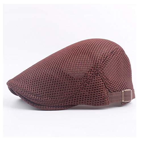 AM-women's hat Mode Hipster Baskenmütze Mütze Baumwolle Fahren Golf Hut Sommer Hohl Mesh Atmungsaktive Visier Damen Einfarbig Hut Komfort (Farbe : Weinrot, Größe : 56-58CM)