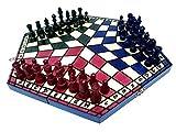 Prime Chess 3 Three Spieler Schachspiel - Medium - 3 Colour - Regeln inklusive - 35 cm