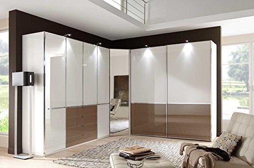 lifestyle4living Schrankprogramm mit Fronten aus Glas weiß und Sahara-braun, Funktionsschrank B:200cm, Eckschrank mit Spiegel B:93 cm, Schwebetürenschrank B: 200 cm