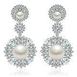 KnSam Damen Platin Plattiert Durchbohrte Ohrringe Perle zu Imitieren Blume Crystal Strass Weiß