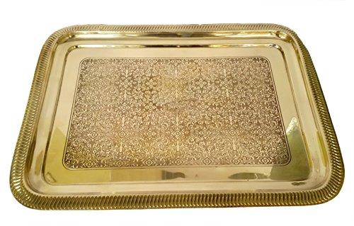 Ottone puro metallico piatto quadrato medio da Bharat Haat