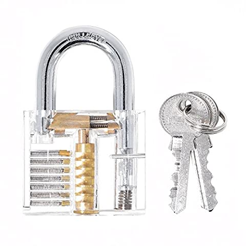 Practice Padlock,DLAND Crystal Professional Inside Visible Cutaway of Practice Padlock Lock Training Trainer Skill Pick for Locksmith with 2 Keys