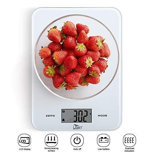 Uten Cucina 8kg/8Kilogram Cibo Digitale Bilancia con Piattaforma in Vetro temperato Touch Button e Batteria Incluso (Bianco), 23CM17CM