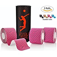 FLEXU – Pink Kinesiology Tape; Super Saver 3 Roll Pack Pre-Cut; Advanced Strength and Flexibility Properties; Longer Lasting, Pro Grade Therapeutic Recovery Sports Tape
