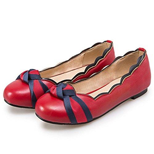 COOLCEPT Damen Sweet Flach Pumps Slip On Geschlossene Schuhe Rot