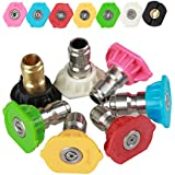 "Leoie 7Pcs/Set High Pressure Washer Spray Nozzle Tips 0/15/25/40 Degree 1/4"" Connector Set"