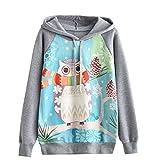 DRESS_start Damen Eulen Langarm Kapuzenpullover Sweatshirt Pullover Kapuzenpullis Tops Bluse Grau Sweatshirt Hoodie Oversize Sweatshirt S-XL (XL)
