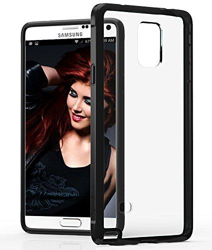 VENA Galaxy Note 4 Hülle [RETAIN] Slim Fit Hybrid Fall mit Shockproof TPU Bumper Klar Back Abdeckung für Samsung Galaxy Note 4 (Schwarz)