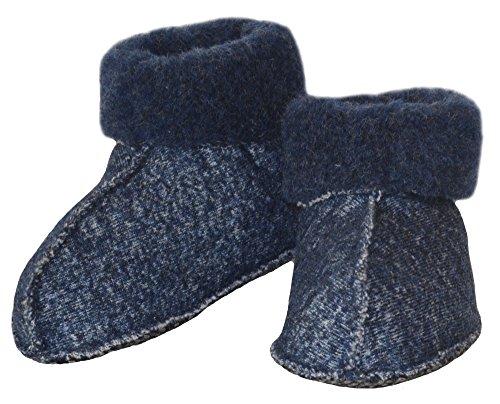 SamWo, Schafwoll-Wohlfühl-Haussocken/Fußwärmer für Kinder, Sohle mit rutschfesten Noppen, 100% Schafwolle, EL FW blau -