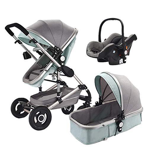 Cochecito Urbano 3 En 1, Diseño Compacto, Sistema Plegable, para Bebes De 0 Meses hasta 4 Años,Green