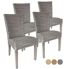 Casamia Cardine Lot de 4 chaises en rotin Blanc/Marron Basalte sans Coussin Taille Unique
