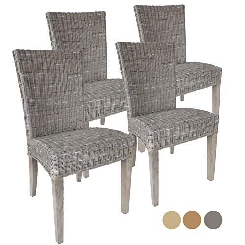 Casamia Rattan-Stuhl-Set Cardine, 4 Stück weiß oder braun Basalt ohne Sitzkissen, One Size