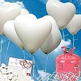 galleryy.net 35 Herzballons Hochzeit WEIß Komplettset: 35 Herzluftballons + Helium Einwegflasche + 50 Ballonflugkarten für Luftballons zur Hochzeit