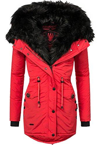 Navahoo Damen Mantel mit doppelter Kunstpelz-Kapuze Sweety (vegan hergestellt) Rot Gr. S (Doppel-zip-kapuzen-jacke)