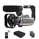 Camcorder 4k Video Kamera, ORDRO 4K 30FPS Videokamera H.265 WiFi 2.4G/5G IR Nachtsicht 64X Digital Zoom Ultra HD YouTube Vlogging Kamera mit Mikrofon, Weitwinkelobjektiv, Tragetasche
