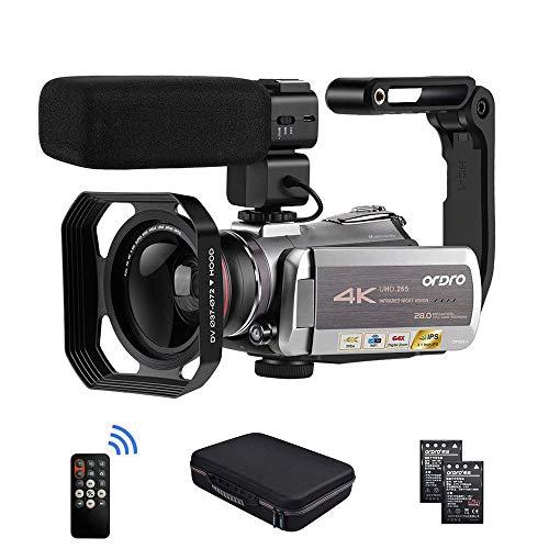 Videokamera 4K Camcorder, ORDRO AZ50 Video Kamera 4K 30FPS Videokamera HEVC H.265 WiFi 2.4/5G IR Nachtsicht mit Stereo Mikrofon, Weitwinkelobjektiv, Kameratasche