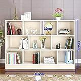 HUO,étagère à livres Bibliothèque sur pied - en bois avec cubes et étagères ouverts, unité de rangement sur étagère et vitrine (Couleur : Blanc)