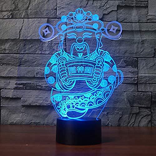 Nachtlicht 3D Chinese Fortuna Form bunte USB Tischlampe kreative LED Schlaf Beleuchtung home decoration3D Fernbedienung Lichter Fortuna-form