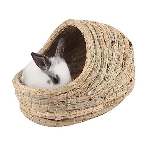 Hängematte Spielen Aufhängen Bett Spielzeug,Handgewebtes Strohnest, Faltbarer Haltbarer Hamster, Der Schlafendes Nest Spielt für Kaninchen Meerschweinchen