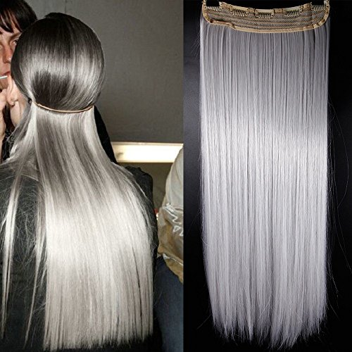 76cm Echt Lang Clip in Hair Extensions Haarverlängerung Haarverdichtung Glatt Haarteil One Piece Straight Hairpieces 150g Silber Grau (Lila Clip In Hair Extensions)