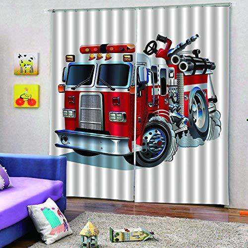 Asfwkd Rideaux 3D Camion De Pompier Oeillets Chambre Isolant Thermique Rideau Grande Largeur Rideau Salon Decoration en Chambre pour Enfant Garcon 220X215Cm