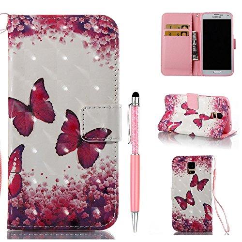 ZCRO Handytasche für Samsung Galaxy S5 Hülle, Leder Schutzhülle Brieftasche Magnet Etui Flip Case Bunt Muster Handyhülle mit Kartenfach Trageschlaufe Stift für Samsung Galaxy S5(Schmetterling Blume)