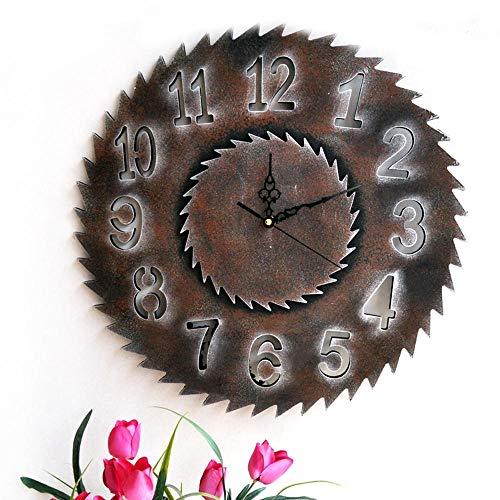 ALOIZ Wanduhr Retro Industrie Wind Gezackte Leise Uhren MDF Zahnrad Sägeblatt Geschenk Uhr Home Bar Dekoration Uhr 40cm