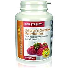 Multivitaminas Masticables para Niños   Sabor a frambuesa con vitaminas A, C y D   360 comprimidos  