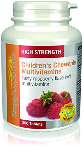 Multivitamin Kautabletten für Kinder mit Himbeergeschmack - 360 Tabletten - Versorgung für 1 Jahr - entwickelt für ein gesundes Wachstum und eine gesunde Entwicklung - SimplySupplements (Leckere Kautabletten)